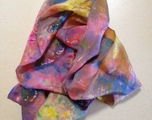 Habotai Silk Ice Dyed Rabbit Batik Scarf