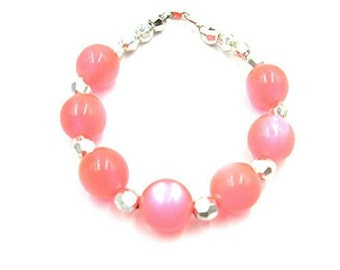 Pink Handmade Bracelet with Silver Beads For Ladies