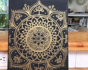 Black and Gold Mandala Canvas Painting Wall Art Wall Room Decor