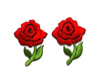 2 pcs./set, RED ROSE, floral embroidered patch, iron/sew on appliques, 3.5 x 5 cm., blooming flower, scarlet red, moss green, gifts (F-200)