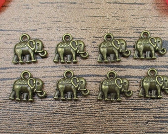 30 Elephant Charms,Antique Bronze Tone,Double Sided-RS129
