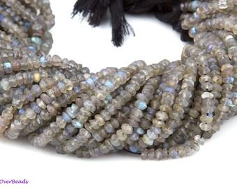 "15"" 5mm Round Faceted LABRADORITE Gemstone Beads, Rondell, Gray Blue Gemstones, Beads, Wholesale, Jewelry Designers, OV31"