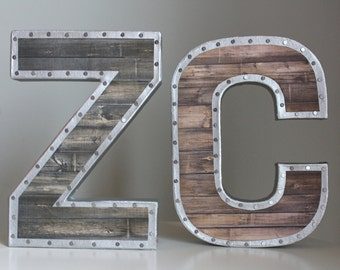 "8"" Faux Reclaimed Wood Letters-Metal Letters, Wooden Letters, Rustic Letters, Letters for Nursery, baby boy nursery, wall letters, reclaimed"