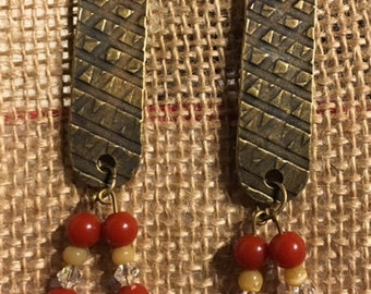 Slab Antique Bronze-Plated Pewter Earrings