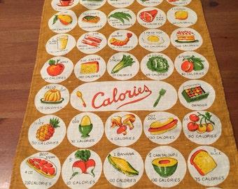 Vintage Calorie Count Linen Tea Towel