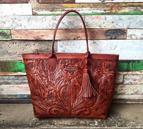 Hand Tooled Tote/Carved Leather Bag/Tooled Bag/Brown Leather