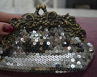 Vintage purse sequin silver 70s purse, original