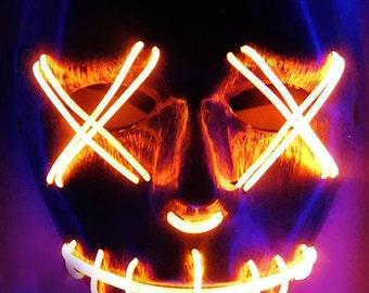 Red LED Purge Rave Mask for DJ, Edc, Ultra, Music Festival, Concerts, Clubs, EDM