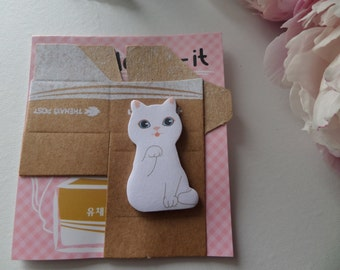 White Cat Sticky Note