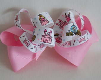 Handmade Girl's Hair Bow Princess Themed Pink and White Ribbon