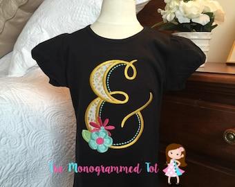 Girls swirly initial shirt