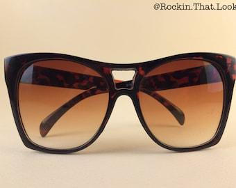 Vintage Square Frame Sunglasses Tortoise Shell Look Plastic Frames