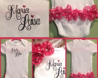 Personalized onesies with matching headband for her