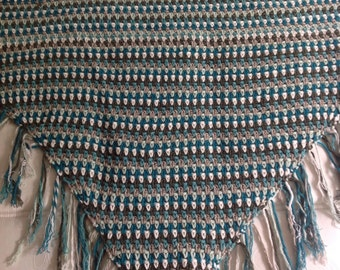 ByClaire triangle crochet scarf in green tones 175 cm wide