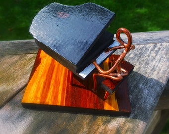 Copper Art Figurine pianist / piano