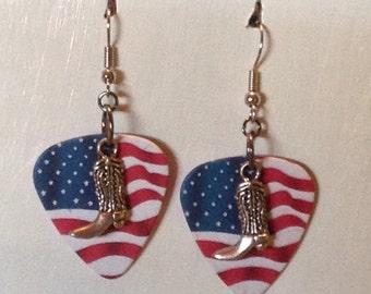 American Flag Cowboy Boot Earrings