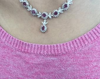 Ruby diamond 14k gold necklace