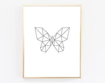 Butterfly Print, Geometric Animal, Animal Print, Geometric Butterfly, Geometric Print, Geometric Animal Art, Home Decor, Instant Download