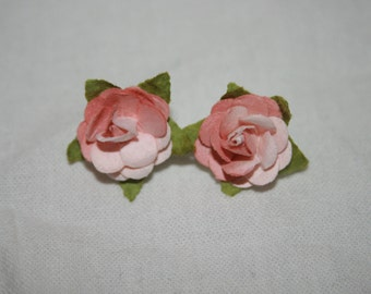 Light pink paper flower earrings