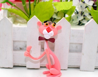 YimYik 1pcs vermicelli Pink Panther cartoon keychain Vinyl Doll key chain ring keychain creative birthday gift For Women