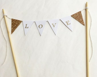 Cake Bunting topper - 'Love' triangle flags