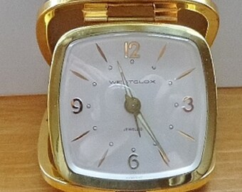 Vintage Westclox Jewelled Travel Alarm Clock, Leather Cowhide, Germany