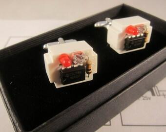 Electronic component steampunk cufflinks (white breadboard)