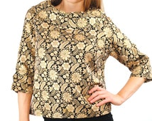 SALE! Vintage 60's Brocade Blouse gold black floral print top rolled collar asian inspired small medium