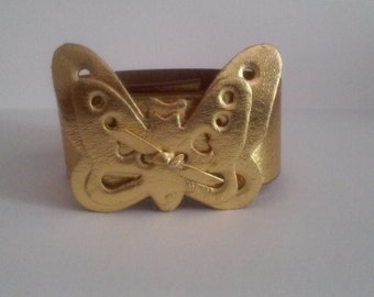 Gold Butterfly Leather Cuff Bracelet