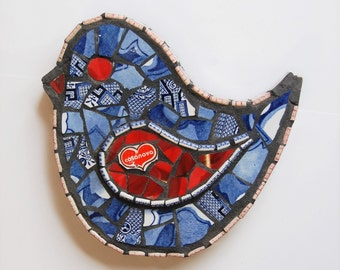 Vintage Recycled China Bird: 010