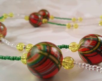Plaid Bead Necklace
