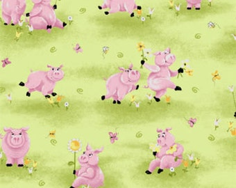 """Susybee Fabric / Nursery Fabric : Flip the pig take flowers on a Green Grass Meadow  Fabric  100% cotton fabric by the yard 36""""x43"""" (A62)"""