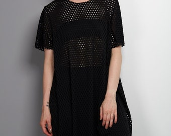 Black Airtex Dress, Loose Fit Dress, Casual chic dress, Made to order, Resort wear, See through top