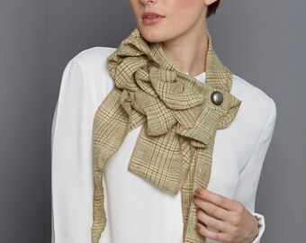 Gina!  Green check scarf, Lightweight, Soft Green, Button and go