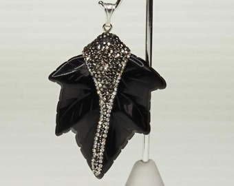 ON SALE!!!  Black Onyx & Crystal Pendant with Silver Bail
