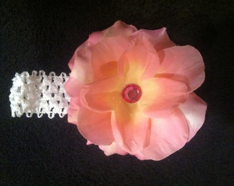 White lace with pink flower head band