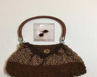 Textured dark Brown  Crochet purse with matching earrings