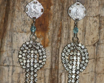 Waiting for Mary, earrings, vintage rhinestones, religious medals, Mary, vintage assemblage