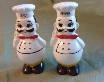 """Italian """"Chefs"""" salt and pepper set. Japanese made."""