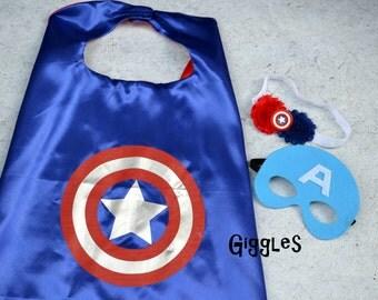 Captain America Cape Mask Headband Set - Kids Costume - Superhero - Halloween - Dress Up - Boy Capes - Birthday Party Favors - Capes Masks