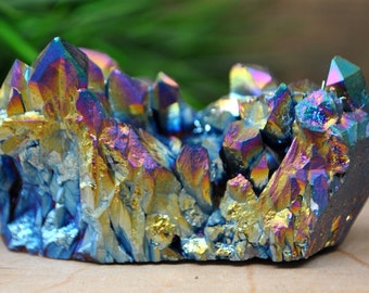 Rainbow Titanium Aura Crystal Cluster  - Perfect for Healing Grids and Terrariums 1210.33
