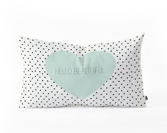 Hello beautiful Heart - oblong lumbar throw pillow