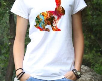 Rabbit T-Shirt - Art Tee - Fashion Tee - White shirt - Printed shirt - Women's T-shirt