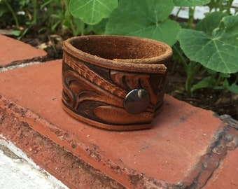 Upcycled leather cuff