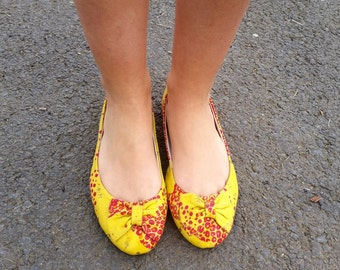 Ballerinas in fabric wax African size 39, ballerina flats in African wax fabric size 8