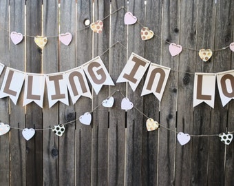 Rustic Falling In Love Heart Garland shabby chic neutral rose gold ivory pink scalloped brown banner twine party supplies decor banner