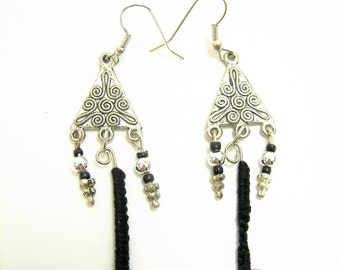 OOAK Silver and Black Tatted Accent Earrings