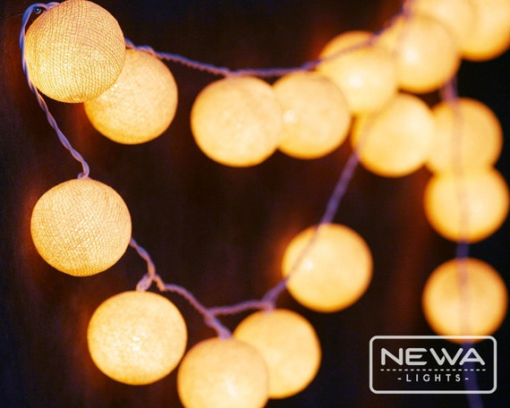 Shop Checkolite International 4 Light Ashfield Rustic: 20 Cream Beige Cotton Ball String Lights Fairy By NewaLights