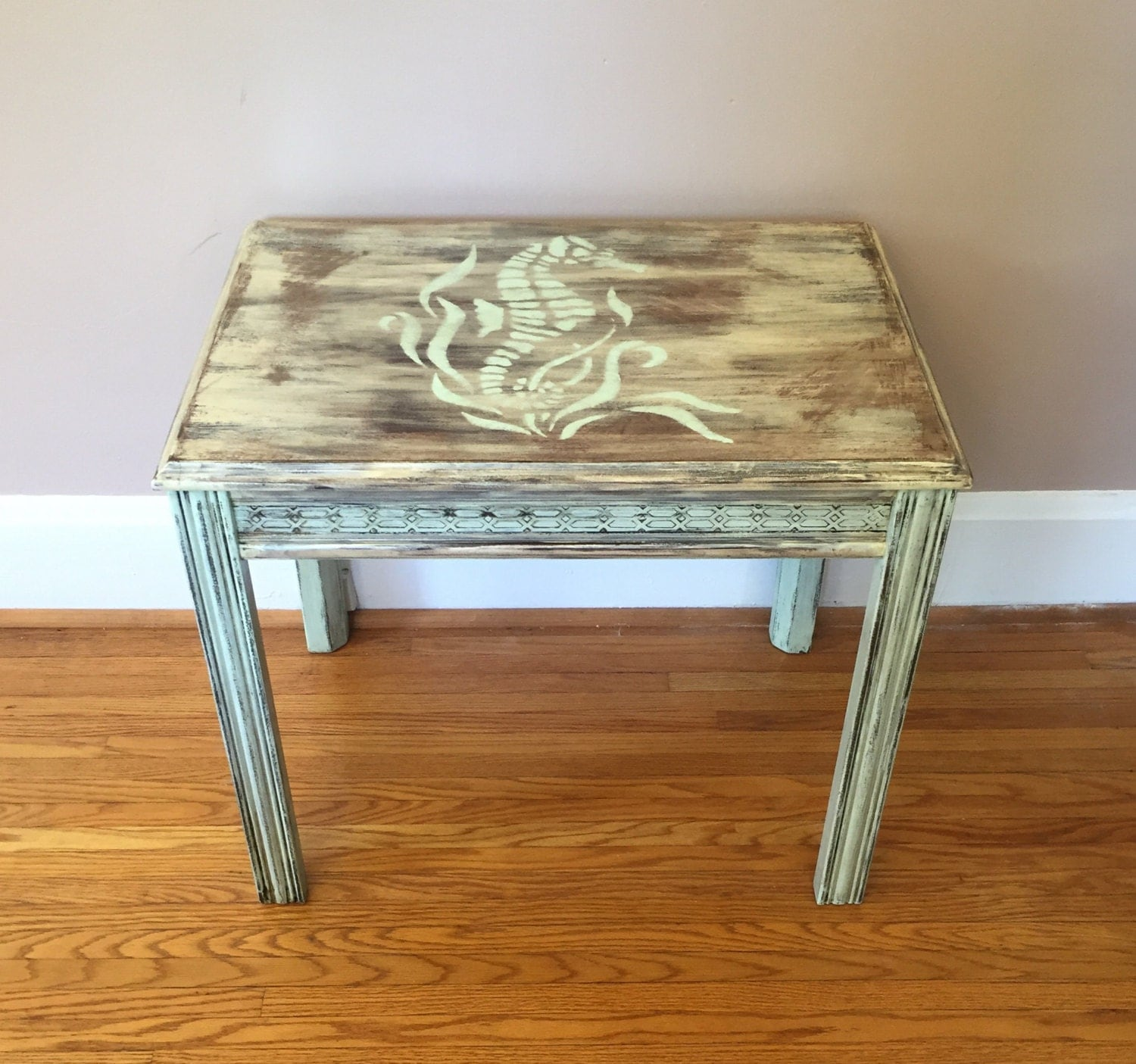 Seahorse table nautical end table small coffee by for Nautical coffee table
