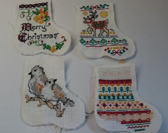 Crosstitch Mini Stockings, 4 supplied on Aida, unfinished 2 in. by 3 in.
